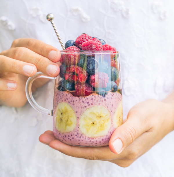 Raspberry and Lime Chia Pudding Parfait